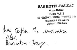 Hotel Balzac Confirmation