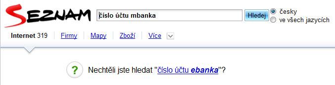 Seznam doporučuje konkurenci mBanka není eBanka :-)